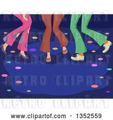 Vector Clip Art of Retro Legs of People Dancing at a Disco Club by BNP Design Studio