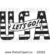 Vector Clip Art of Retro Lets Go Banner over USA by BestVector