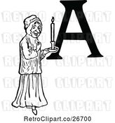Vector Clip Art of Retro Letter a and Lady with a Candle by Prawny Vintage