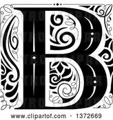 Vector Clip Art of Retro Letter B Monogram by BNP Design Studio
