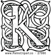Vector Clip Art of Retro Letter K with Vines by Prawny Vintage