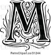 Vector Clip Art of Retro Letter M by Prawny Vintage