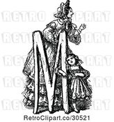 Vector Clip Art of Retro Letter M with a Mother and Daughter by Prawny Vintage