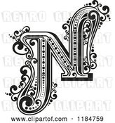 Vector Clip Art of Retro Letter N in by Vector Tradition SM