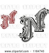 Vector Clip Art of Retro Letter N in Red and by Vector Tradition SM