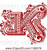Vector Clip Art of Retro Letter N in Red by Vector Tradition SM