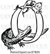 Vector Clip Art of Retro Letter O with a Boy and Crocodile by Prawny Vintage