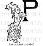 Vector Clip Art of Retro Letter P and Lady by Prawny Vintage