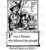 Vector Clip Art of Retro Letter Page with F Was a Farmer Who Followed the Plough Text by Prawny Vintage
