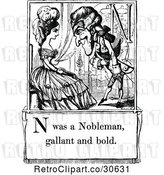 Vector Clip Art of Retro Letter Page with N Was a Nobleman Gallant and Bold Text by Prawny Vintage