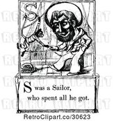 Vector Clip Art of Retro Letter Page with S Was a Sailor Who Spent All He Got Text by Prawny Vintage