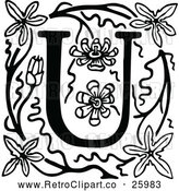 Vector Clip Art of Retro Letter U and Flowers by Prawny Vintage