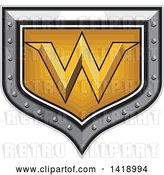 Vector Clip Art of Retro Letter W in a Gold and Silver Shield by Patrimonio