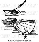 Vector Clip Art of Retro Letter with a Wax Seal Book and Ink by Prawny Vintage