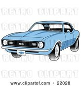Vector Clip Art of Retro Light Blue 1968 Chevrolet SS Camaro Muscle Car with a Chrome Bumper by Andy Nortnik