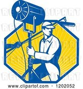 Vector Clip Art of Retro Lighting Worker with a Fresnel Sound Boom in a Ray Octagon by Patrimonio