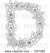 August 14th, 2018: Vector Clip Art of Retro Lineart Capital Floral Letter D Design by Vector Tradition SM