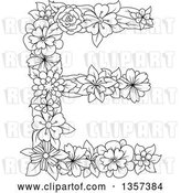 Vector Clip Art of Retro Lineart Floral Capital Letter E Design by Vector Tradition SM