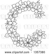 Vector Clip Art of Retro Lineart Floral Letter C Design by Vector Tradition SM
