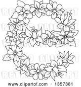 Vector Clip Art of Retro Lineart Floral Lowercase Letter E Design by Vector Tradition SM