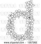 Vector Clip Art of Retro Lineart Lowercase Floral Letter D Design by Vector Tradition SM