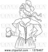Vector Clip Art of Retro Lineart Styled Victorian Beer Maiden Holding a Mug by Patrimonio