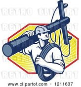 Vector Clip Art of Retro Lineman Worker Carrying a Pole and Cable over Rays by Patrimonio