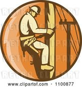 Vector Clip Art of Retro Linesman Scaling a Pole in an Orange Circle by Patrimonio