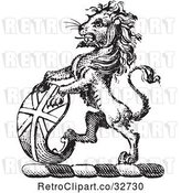 Vector Clip Art of Retro Lion Crest with a Curved Shield by Picsburg