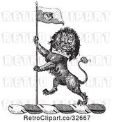 Vector Clip Art of Retro Lion Crest with a Flag by Picsburg