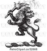 Vector Clip Art of Retro Lion Crest with a Torch by Picsburg