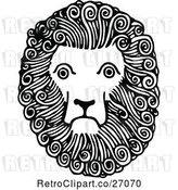 Vector Clip Art of Retro Lion Face by Prawny Vintage