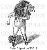 Vector Clip Art of Retro Lion Guy Looking Back by Prawny Vintage