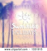 Vector Clip Art of Retro Lit Tropical Beach Sunset with Palm Trees, Blurred with Summer Holidays Text and a Sun by KJ Pargeter