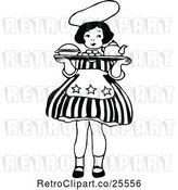 Vector Clip Art of Retro Little Girl Carrying a Tray by Prawny Vintage