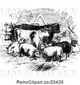 Vector Clip Art of Retro Livestock Farm Animals by Prawny Vintage