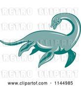 Vector Clip Art of Retro Loch Ness Monster Pliosaur Dinosaur by Patrimonio