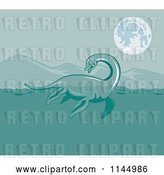 Vector Clip Art of Retro Loch Ness Monster Pliosaur Dinosaur Swimming by Patrimonio