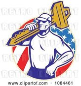 Vector Clip Art of Retro Locksmith Carrying a Key over an American Circle by Patrimonio