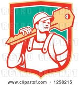 Vector Clip Art of Retro Locksmith Guy Carrying a Giant Key in a Yellow Red White and Green Shield by Patrimonio