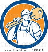Vector Clip Art of Retro Locksmith Guy Carrying a Giant Key on a Blue White and Orange Circle by Patrimonio