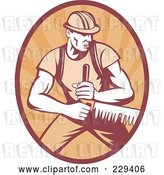 Vector Clip Art of Retro Logger Sawing Logo by Patrimonio