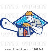 Vector Clip Art of Retro Logger Using a Chain Saw Emerging from a Diamond of Blue Rays by Patrimonio