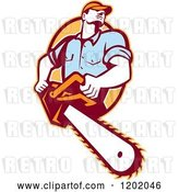 Vector Clip Art of Retro Logger Using a Chain Saw, Emerging from an Orange Oval by Patrimonio