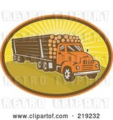 Vector Clip Art of Retro Logging Truck Logo by Patrimonio