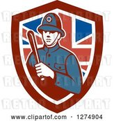 Vector Clip Art of Retro London Bobby Police Officer Holding a Baton in a British Flag Shield by Patrimonio