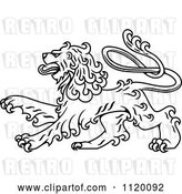 Vector Clip Art of Retro Long Haired Heraldic Lion by Vector Tradition SM