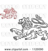 Vector Clip Art of Retro Long Haired Heraldic Lions by Vector Tradition SM