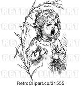 Vector Clip Art of Retro Lost Baby Crying by Prawny Vintage