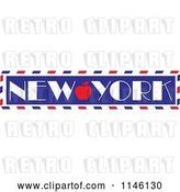 Vector Clip Art of Retro Love New York Apple Banner by Maria Bell